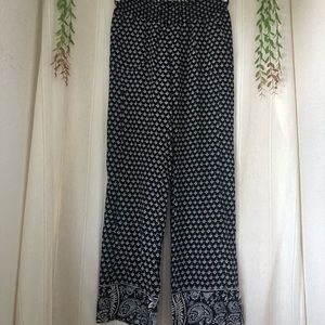 Roxy Oceanside Flared Black and White Beach Pants